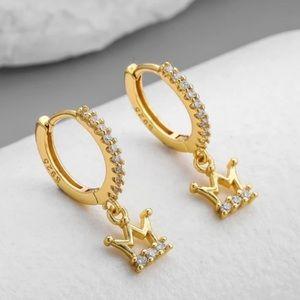 👑 Insta 18K Gold  plated crown earrings